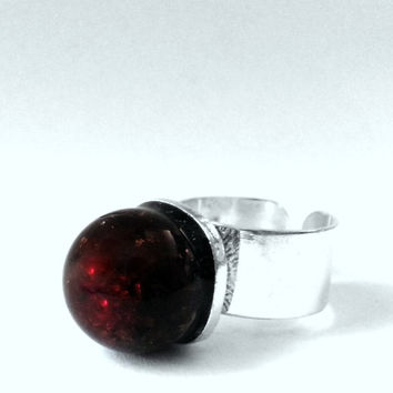 Red Marble Ring, Red Glass Ring, Red Glass Ball Ring, Crimson Ring, Vintage Glass Marble Ring, Dragons Blood Ring, Rose Red Ring,Crimson Red