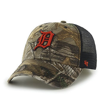 MLB Detroit Tigers '47 Huntsman Closer Camo Mesh Stretch Fit Hat, One Size, Realtree Camouflage