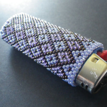 Beaded Bic Lighter Cover- Purple- Lavendar- Lilac- Blue- Christmas Stocking Stuffer- Gift for Her- Women