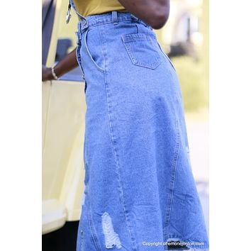 Rebel Denim Jean Skirt w/ Suspenders