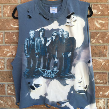 AEROSMITH cropped distressed t shirt,bleached band tee, rock n roll, heavy metal, bleached shirt