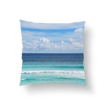 Playa Bonita - Throw Pillow Cover, Blue Ocean Style Ombre Accent, Beach Surf Interiors Home Decor Throw in 14x14 16x16 18x18 20x20 26x26