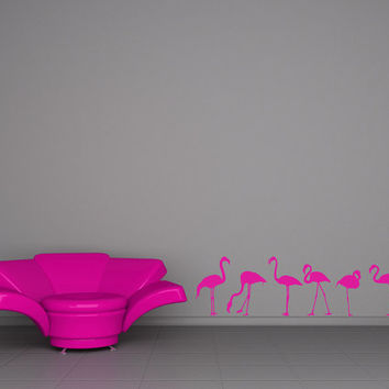 Pink Flamingos, Flock - Decal, Sticker, Vinyl, Wall, Home, Office, Den, Kitchen Decor