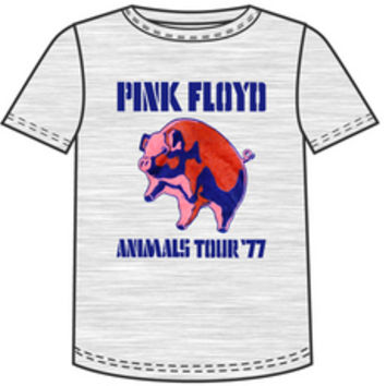 Pink Floyd Concert T-shirt - Animals Tour 1977. Men's Gray Shirt