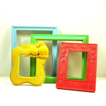 upcycled picture frames, open gallery, colorful decor, tropical, bright, yellow, aqua, mint green, neon pink, birds, wall decor