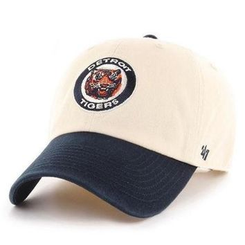 MLB Detroit Tigers Natural Cooperstown Two-Tone Clean Up Adjustable Hat