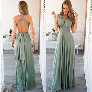 Long Backless Gown Bridesmaid Dress