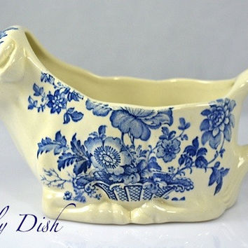 Cow Shaped English Transferware Ironstone Pitcher Creamer Charlotte Blue Toile Floral Transferware