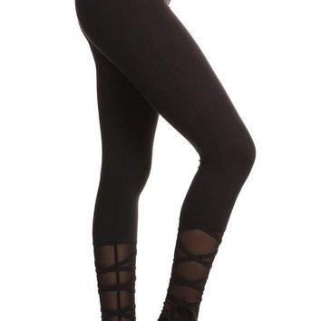 Lace Up Leggings - Black