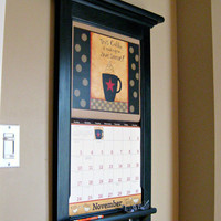 Calendar Frame organizer for your 2013 Calendar - storage shelf and key hook Furniture - Front Loading Calendar Frame in Black or White