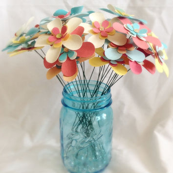 Paper daisies. YOUR COLORS. wedding centerpiece. wedding bouquet. Retro paper daisies. Rustic wedding. Spring flowers.