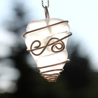 Sea glass Necklace White Wire Wrapped by SeaglassReinvented
