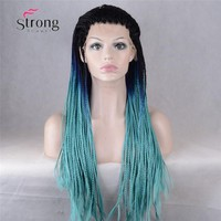 Ombre Blue Braiding Synthetic Lace Front Wig Straight Heat Resistant Hair Natural Black Roots wut Blue Big Box Braids Woman Wigs