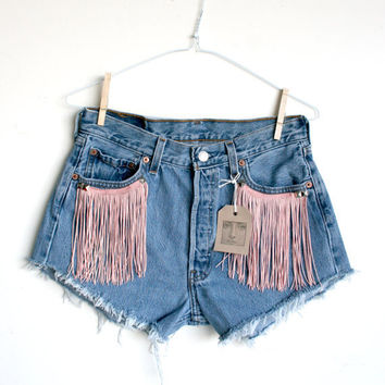 Waist 305 Fringe High Waisted Levi Shorts by thedaisies on Etsy