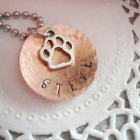 Hammered And Domed Copper Hand Stamped Necklace
