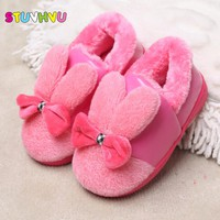 Autumn winter baby cartoon cute non-slip children's furry warm cotton slippers girls boys house slippers bowknot kids home shoes
