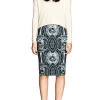 Pencil Skirt With Diamond Print In Vintage