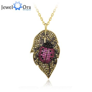 Lovely Ladybug On the Leaves Pendants Necklace Insects for Women Jewelry  Fashion Dress Coat Accessory(jewelora NE102771)
