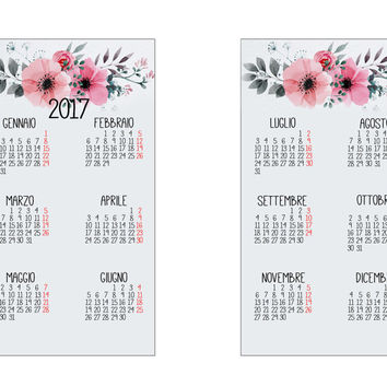 Calendar 2017 for filofax Personal- Printable - Watercolor Flower