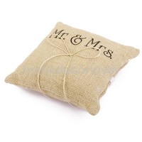 Mr & Mrs Burlap Jute Bow Twine Rustic Wedding Ring Pillow 15cm