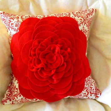 Decorative Pillow Cover with Felt Flower