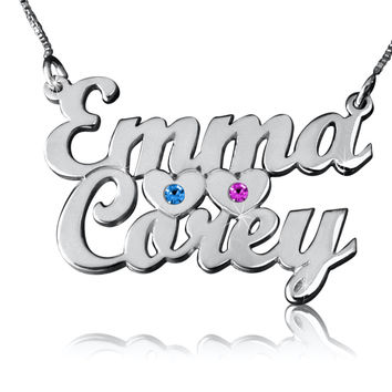 Personalized  Swarovski Crystal 2 Name Necklace monogram Children Birthstone Pendant Silver custom made by hand Hearts Family