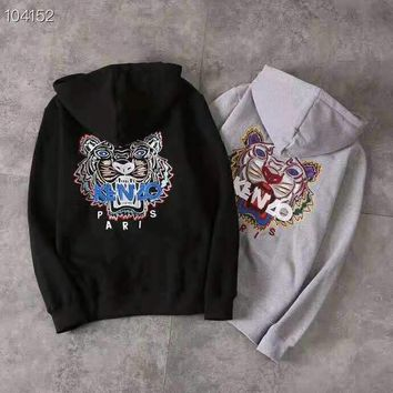 KENZO 2018 autumn and winter new men and women couple embroidery hooded sweater