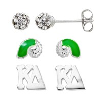 Sunstone 925 Sterling Silver Kappa Delta Sorority Stud Earring Set (White)