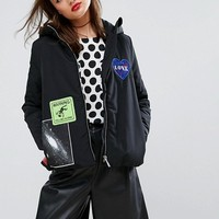 Love Moschino Badges Padded Hooded Jacket at asos.com