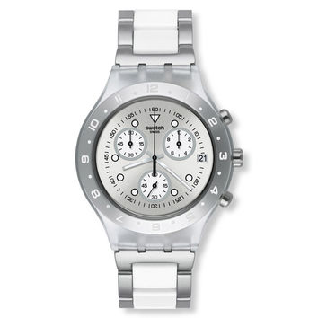 Swatch SVCK4075AG Women's Astyanax Classic Irony Chrono Silver Dial Aluminum Bracelet Watch