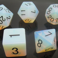 Synthetic Opalite Gemstone Polyhedral Dice Set:  Hand Carved with Quality! Full-Sized 16mm. Great for DnD RPG Dungeons and Dragons