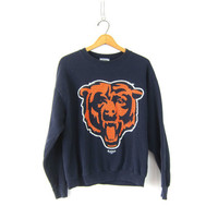 Chicago Bears Sweatshirt Vintage navy blue and orange Illinois Sports NFL Football sweatshirt size Large