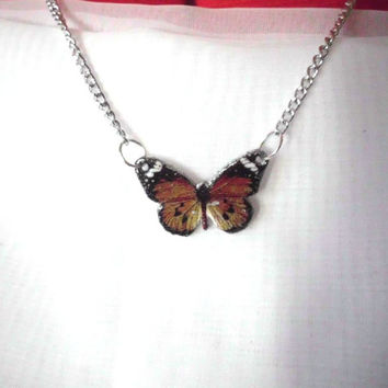 Butterfly Necklace, Monarch Butterfly, Danaus chrysippus, Brown  Butterfly Necklace, Butterflies Gift , Butterfly lover, Jewelry, Butterfly