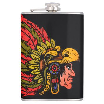 Indian Chieftain head illustration Flask