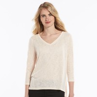 LC Lauren Conrad Lace-Back Slubbed Top - Women's, Size: