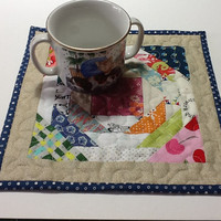 Quilt Patchwork Mug Rug, Fabric Candle Mat, Quiltsy Handmade
