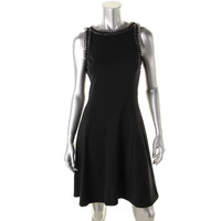 MICHAEL Michael Kors Womens Ponte Chain Trim Cocktail Dress