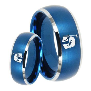 His Her Satin Blue Dome Star Wars Boba Fett Sci Fi Science Two Tone Tungsten Wedding Rings Set
