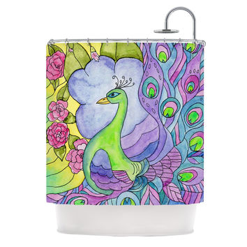"Catherine Holcombe ""Stained Glass Watercolor Peacock"" Purple Green Shower Curtain"