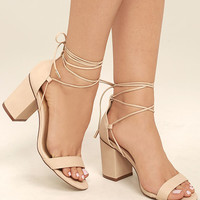 Kaira Beige Lace-Up Heels