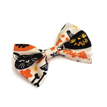 Halloween Bow • Vintage Halloween Bow • Black Cat Bow • Skull Hair Bow • Pumpkin Bow • Halloween Gift • Cotton Hair Bow • Scary Hair Bow