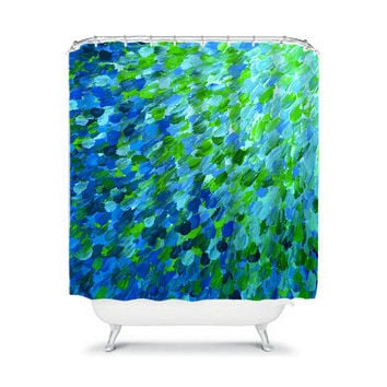 SPLASH into THE DEEP - Ocean Waves Fine Art Painting Shower Curtain Washable Decor Turquoise Teal Blue Green Ombre Modern Stylish Bathroom