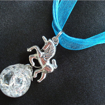 Unicorn Fried Marble Charm on Blue Ribbon Necklace by KatieDidsx3