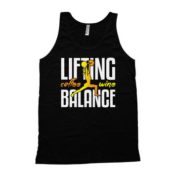Funny Lifting Tank Lifting Coffee Wine Balance American Apparel Tank Lifting Clothing Fitness Apparel Coffee Drinker Workout Clothes WT-118