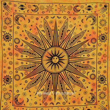 Large Yellow Celestial Psychedelic Sun Moon Wall Tapestry Throw Dorm Bedding on RoyalFurnish.com