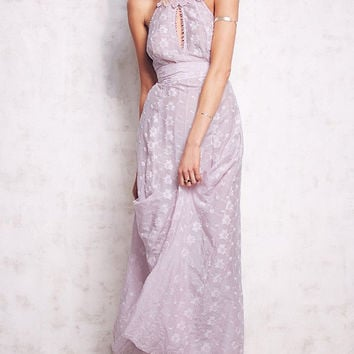 Purple Criss Cross Back Embroidered Cu-out Maxi Dress