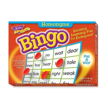 trend enterprises homonyms bingo game, 3-36 players, 36 cards/mats Case of 3