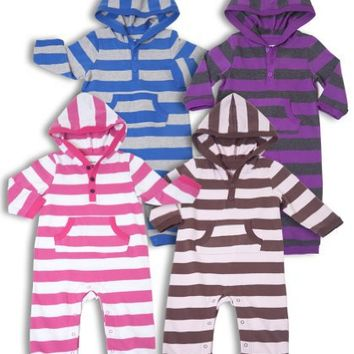 """Leveret """"Striped"""" Hooded One Piece Romper 100% Cotton (Size 3-24 Months)"""