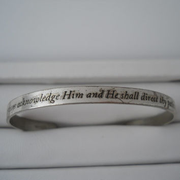Sterling Silver 925 Cuff Bracelet Proverbs 3:6 Religious Cuff Sterling