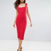 ASOS Thick Strap Square Neck Midi Bodycon Dress at asos.com